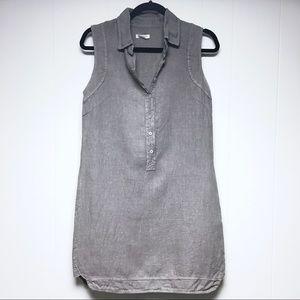 LINA TOMEI Sleeveless Shift Dress Linen Gray XS